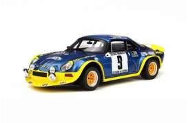 Alpine  - A110 Turbo Rally blue/yellow - 1:18 - OttOmobile Miniatures - otto249 | The Diecast Company