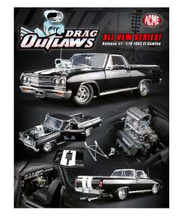 Chevrolet  - El Camino *Drag Outlaws* 1965 black/white - 1:18 - Acme Diecast - 1805409 - acme1805409 | The Diecast Company
