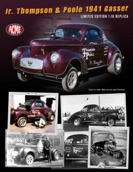 Willys  - Gasser 1941 burgundy - 1:18 - Acme Diecast - 1800909 - acme1800909 | The Diecast Company