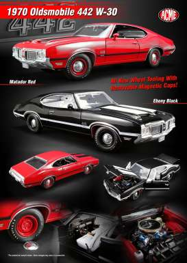 Oldsmobile  - 442 W30 1970 black - 1:18 - Acme Diecast - acme1805609 | The Diecast Company