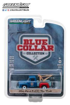 Ford  - F-100 Tow Truck 1956 blue/light blue - 1:64 - GreenLight - 35100A - gl35100A | The Diecast Company