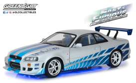 Nissan  - Skyline GT R-34 F&F 1999 silver/blue - 1:18 - GreenLight - 19041 - gl19041 | The Diecast Company