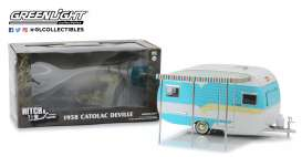 Catolac DeVille Travel Trailer  - white/blue - 1:24 - GreenLight - 18450A - gl18450A | The Diecast Company