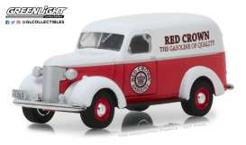 Chevrolet  - Panel Truck 1939 red/white - 1:64 - GreenLight - 41060E - gl41060E | The Diecast Company