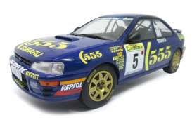 Subaru  - Impreza #5 1995 blue/yellow - 1:18 - Solido - 1800802 - soli1800802 | The Diecast Company