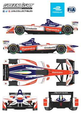 Formula E  - Mahindra, Indian Oil 2018 white/orange/blue - 1:18 - GreenLight - gl18114 | The Diecast Company