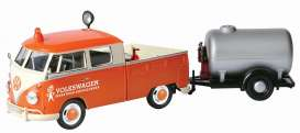 Volkswagen  - T2 pick-up orange/white - 1:24 - Motor Max - mmax79674 | The Diecast Company