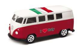 Volkswagen  - T1 Bus 1962 red/white - 1:64 - Welly - 52221IT - welly52221IT | The Diecast Company