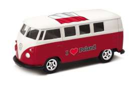 Volkswagen  - T1 Bus 1962 red/white - 1:64 - Welly - 52221PO - welly52221PO | The Diecast Company