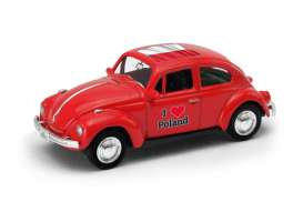 Volkswagen  - Beetle 1963 red/white - 1:64 - Welly - 52222PO - welly52222PO | The Diecast Company