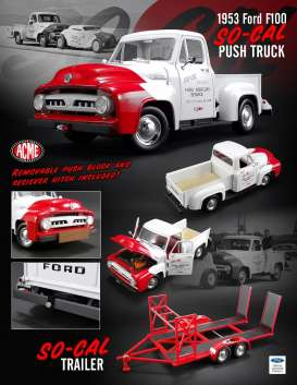 Ford So-Cal - F-100 *So-Cal* 1953 white/red - 1:18 - Acme Diecast - acme1807208 | The Diecast Company