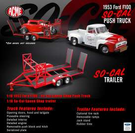 Trailer So-Cal - red/black - 1:18 - Acme Diecast - acme18907 | The Diecast Company