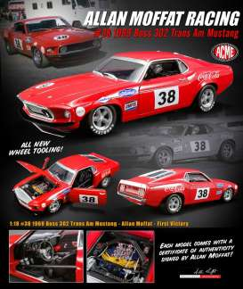 Ford  - Mustang Boss 302 Trans Am #38 1969 red - 1:18 - Acme Diecast - 1801828 - acme1801828 | The Diecast Company
