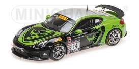 Porsche  - Cayman GT4 2017 black/green - 1:43 - Minichamps - 437171614 - mc437171614 | The Diecast Company