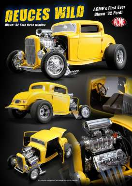 Ford  - 3 Window *Deuce Wild* 1932 yellow - 1:18 - Acme Diecast - acme1805015 | The Diecast Company