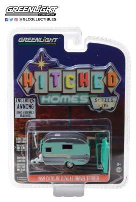 Catolac DeVille Travel Trailer  - 1959 green/silver - 1:64 - GreenLight - 34050B - gl34050B | The Diecast Company
