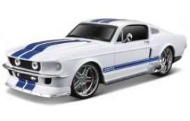 Ford  - Mustang GT 1967 white/blue stripes - 1:24 - Maisto - 81061w - mai81061w | The Diecast Company