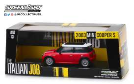 Mini  - Cooper S 2003 red/white stripes - 1:43 - GreenLight - 86547 - gl86547 | The Diecast Company