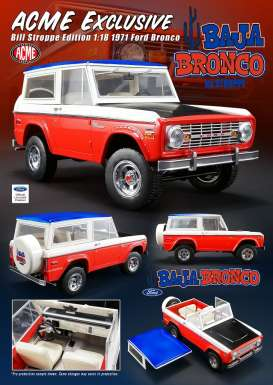Ford  - Bronco *Bill Strope* 1972 red/white/blue/black - 1:18 - Acme Diecast - 51173 - acme51173 | The Diecast Company