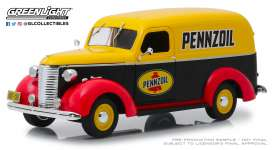Chevrolet  - Panel Truck 1939 yellow/black/red - 1:24 - GreenLight - 85021 - gl85021 | The Diecast Company