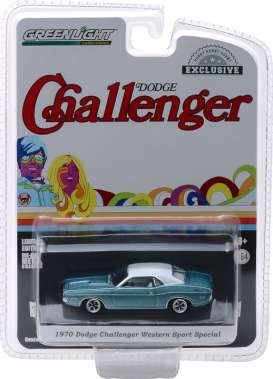Dodge  - Challenger 1970 light blue/white - 1:64 - GreenLight - 29986 - gl29986 | The Diecast Company