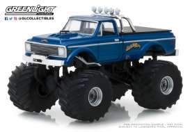 Chevrolet  - K10 Monster Truck 1970 blue - 1:64 - GreenLight - 49020B - gl49020B | The Diecast Company