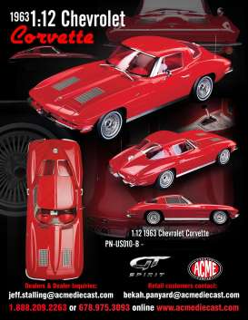 Chevrolet  - Corvette Split Window  1963 red - 1:12 - Acme Diecast - US010B - GTUS010B | The Diecast Company