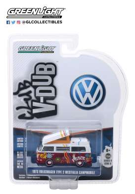 Volkswagen  - Type 2 1973 red/white - 1:64 - GreenLight - 29940C - gl29940C | The Diecast Company