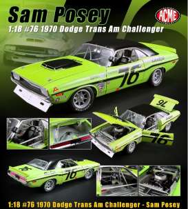 Dodge  - Challenger #76 1970 green/black - 1:18 - Acme Diecast - 1806009 - acme1806009 | The Diecast Company