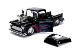 Chevrolet  - Stepside 1955 black/flames - 1:24 - Jada Toys - 30714 - jada30714bk | The Diecast Company