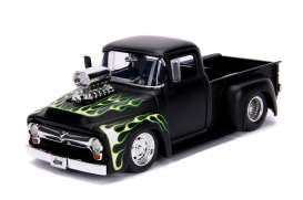 Ford  - F-100 1956 black/flames - 1:24 - Jada Toys - 30716 - jada30716bk | The Diecast Company