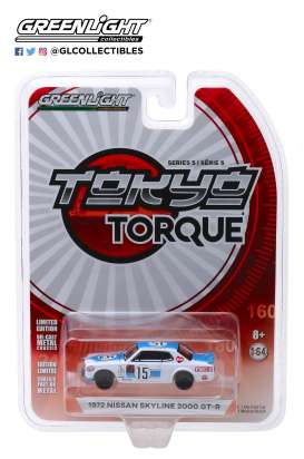 Nissan  - Skyline 2000GT 1972 white/blue - 1:64 - GreenLight - 47030C - gl47030C | The Diecast Company