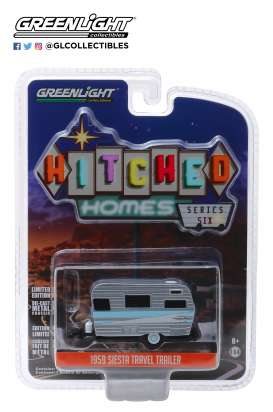 Siesta Travel Trailer  - 1959 grey/white/blue - 1:64 - GreenLight - 34060B - gl34060B | The Diecast Company
