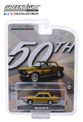 Datsun  - 510 1968 gold - 1:64 - GreenLight - 27970A - gl27970A | The Diecast Company