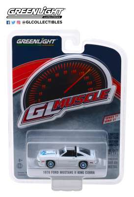 Ford  - Mustang II Cobra 1978 white/blue - 1:64 - GreenLight - 13230C - gl13230C | The Diecast Company