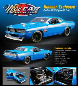 Plymouth  - Custom Cuda *Hurst* 1970 blue - 1:18 - Acme Diecast - 1806104 - acme1806104 | The Diecast Company