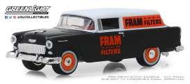 Chevrolet  - 150 Sedan Delivery 1955 black/white/orange - 1:64 - GreenLight - 41080C - gl41080C | The Diecast Company