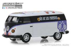 Volkswagen  - Type 2 Panel Van 2019 white/black/purple - 1:64 - GreenLight - 30040 - gl30040 | The Diecast Company