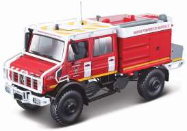 Mercedes Benz  - Unimog U5000 red/white - 1:50 - Bburago - 32017 - bura32017 | The Diecast Company