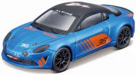 Alpine  - A110 2019 blue/orange - 1:43 - Bburago - 38037 - bura38037 | The Diecast Company
