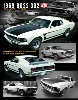 Ford  - Mustang Boss 302 *Pilot Car* 1969 white/black - 1:18 - Acme Diecast - 1801831 - acme1801831 | The Diecast Company