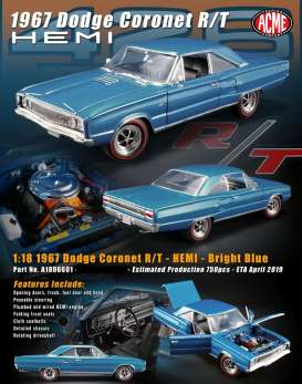 Dodge  - Coronet R/T Hemi 1967 bright blue - 1:18 - Acme Diecast - 1806601 - acme1806601 | The Diecast Company