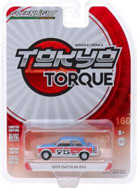 Datsun  - 510 1973 red/blue/white - 1:64 - GreenLight - 47040D - gl47040D | The Diecast Company