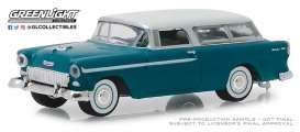 Chevrolet  - Nomad 1955 turquoise/ivory - 1:64 - GreenLight - 29950A - gl29950A | The Diecast Company