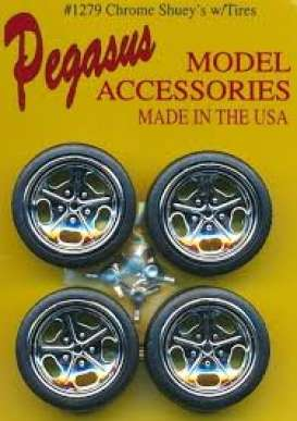 Rims & tires Wheels & tires - chrome - 1:24 - Pegasus - hs1279 - pghs1279 | The Diecast Company