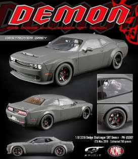 Dodge  - Challenger Demon 2018 grey - 1:18 - Acme Diecast - US007 - GTUS007 | The Diecast Company