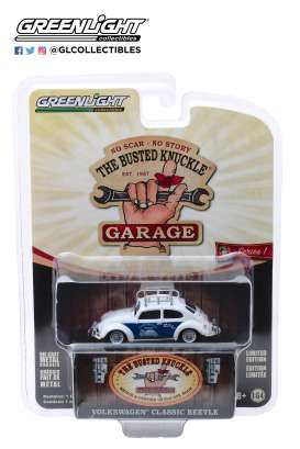 Volkswagen  - Beetle white/blue - 1:64 - GreenLight - 39010F - gl39010F | The Diecast Company