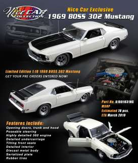 Ford  - Mustang Boss 302 1969 white/black - 1:18 - Acme Diecast - 1801831NC - acme1801831NC | The Diecast Company