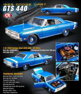 Dodge  - Dart GTS 440 1969 B5 blue - 1:18 - Acme Diecast - 1806402 - acme1806402 | The Diecast Company