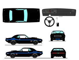 Dodge  - Challenger Trans Am 1970 black/blue - 1:18 - Acme Diecast - 1806013NC - acme1806013NC | The Diecast Company